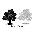 Oak tree silhouette contours and inscriptions vector