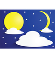 Paper full moon and crescent moon with clouds vector