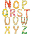 The letters of the alphabet made of fruits and vector