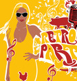 Retro party girl background vector