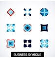 Abstract geometric business symbols icon set vector