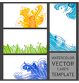 Set of grunge watercolor visit cards vector