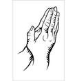Hand praying vector
