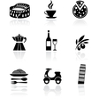 Italy icons - black vector