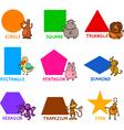 Basic geometric shapes with cartoon animals vector