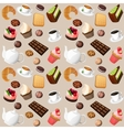 Coffee and sweets seamless background vector