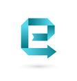 Letter e arrow ribbon logo icon design template vector