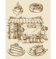 Hand drawn cafe vector