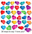 36 ways to say i love you vector