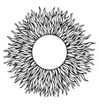 Black hand-drawn sun silhouette isolated in white vector