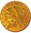 American dollar gold coin vector