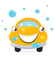 Happy yellow car wash vector