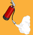 Fire extinguisher releasing its gas vector