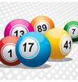 Bingo balls on white 3d background vector