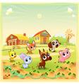 Funny farm animals in the garden vector