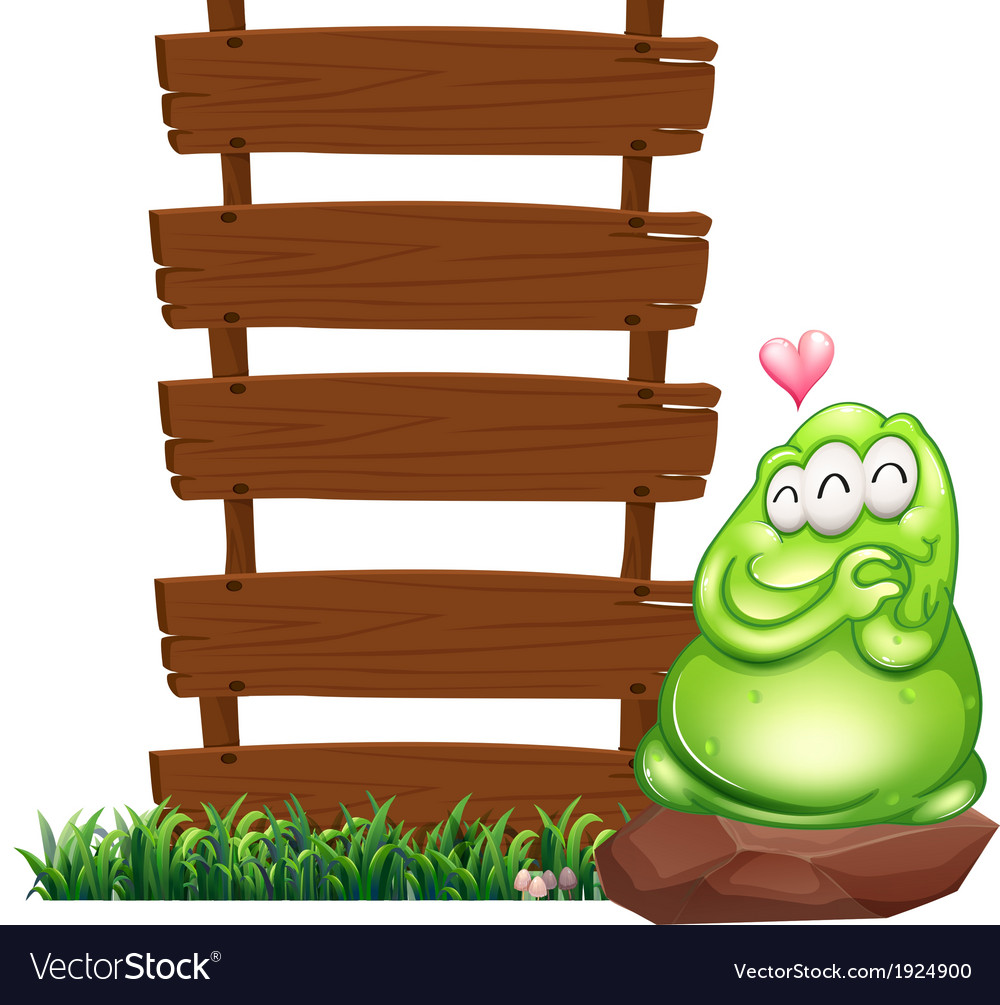 A green monster beside the empty wooden boards vector | Price: 3 Credit (USD $3)