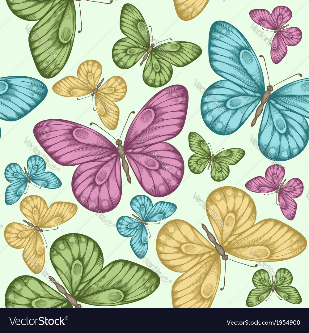Beautiful seamless background with butterflies vector | Price: 1 Credit (USD $1)