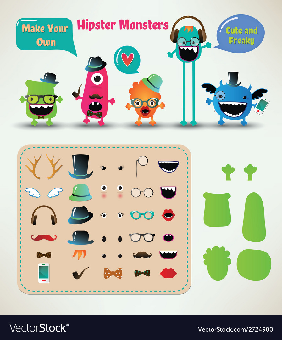 Freaky hipster monsters set vector | Price: 1 Credit (USD $1)
