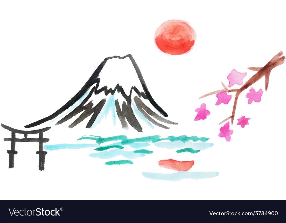 Mount fuji and sakura in japan vector   Price: 1 Credit (USD $1)