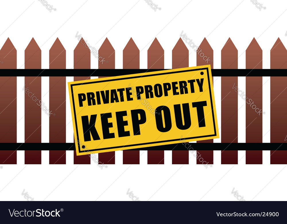 Private property fence vector | Price: 1 Credit (USD $1)