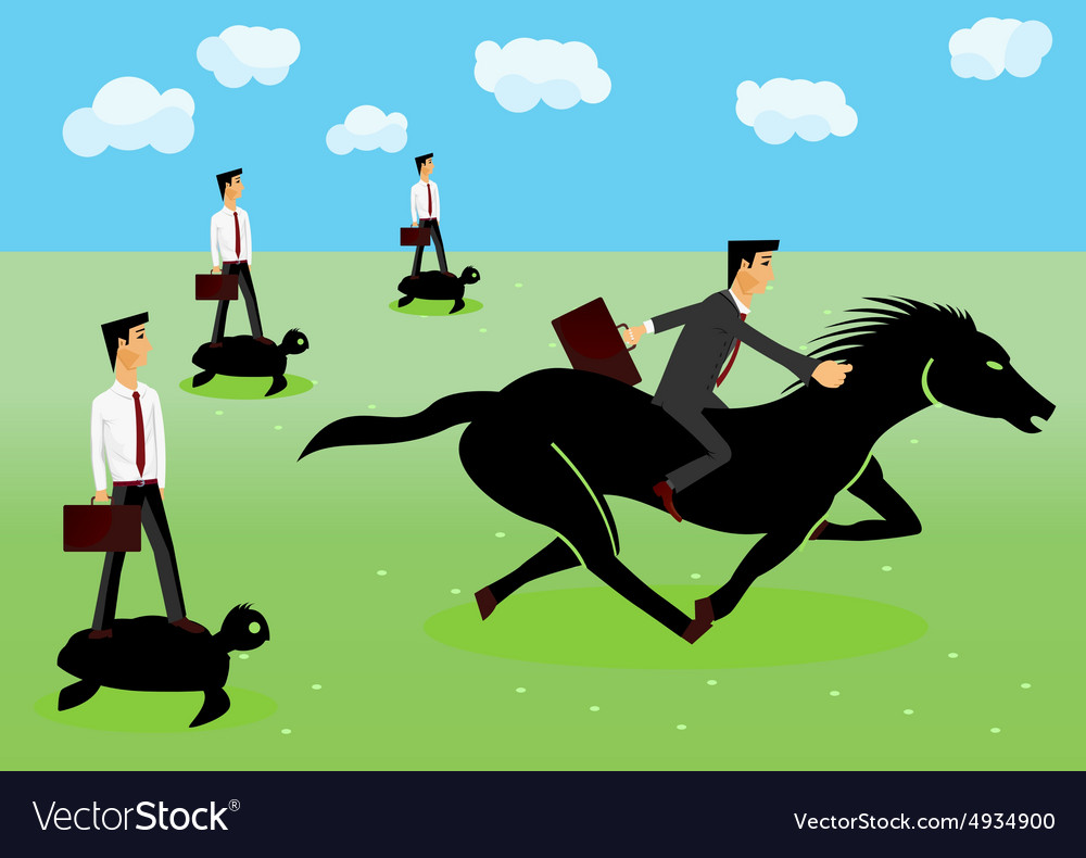 Racing  businessmen riding a horse vector