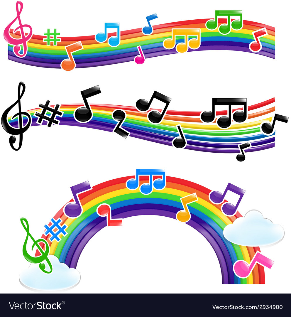 Rainbow music 001 vector | Price: 1 Credit (USD $1)