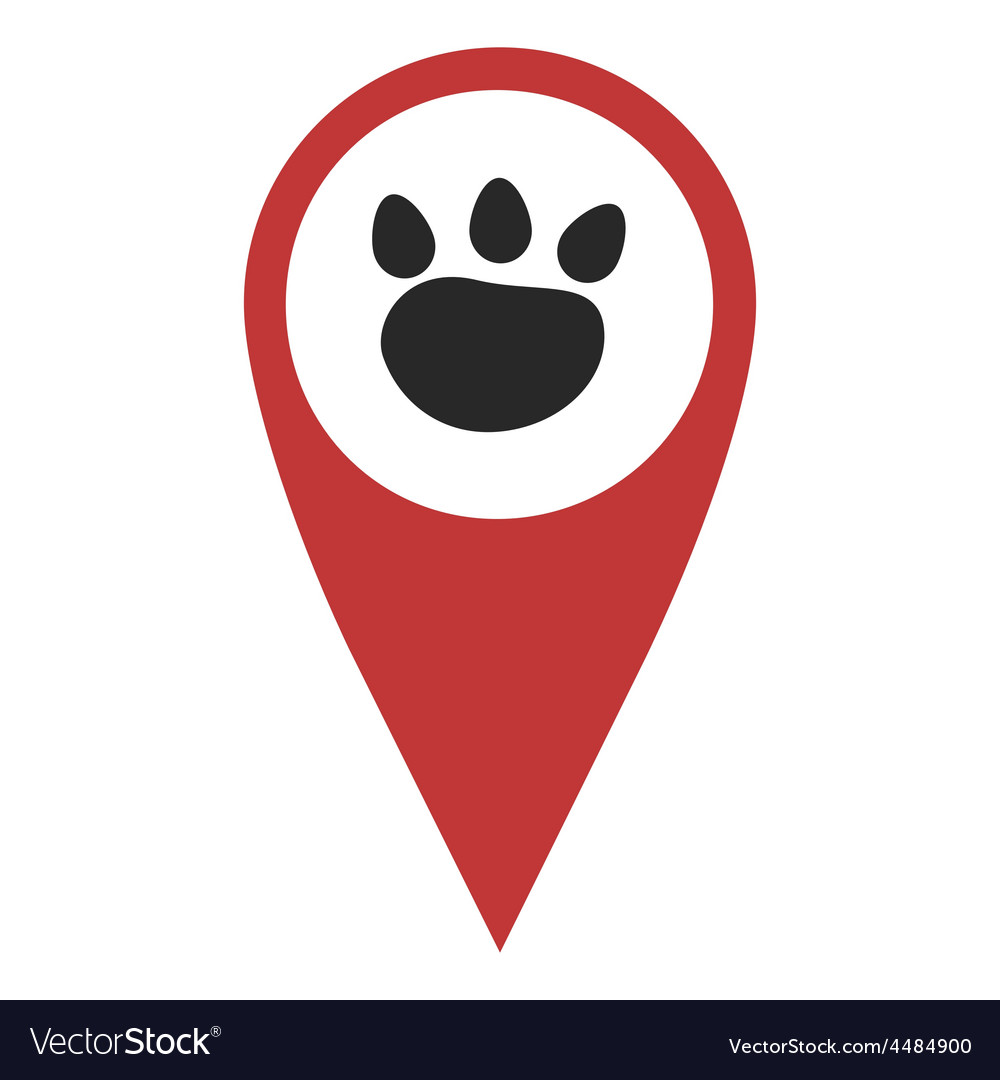 Red geo pin with paw vector | Price: 1 Credit (USD $1)