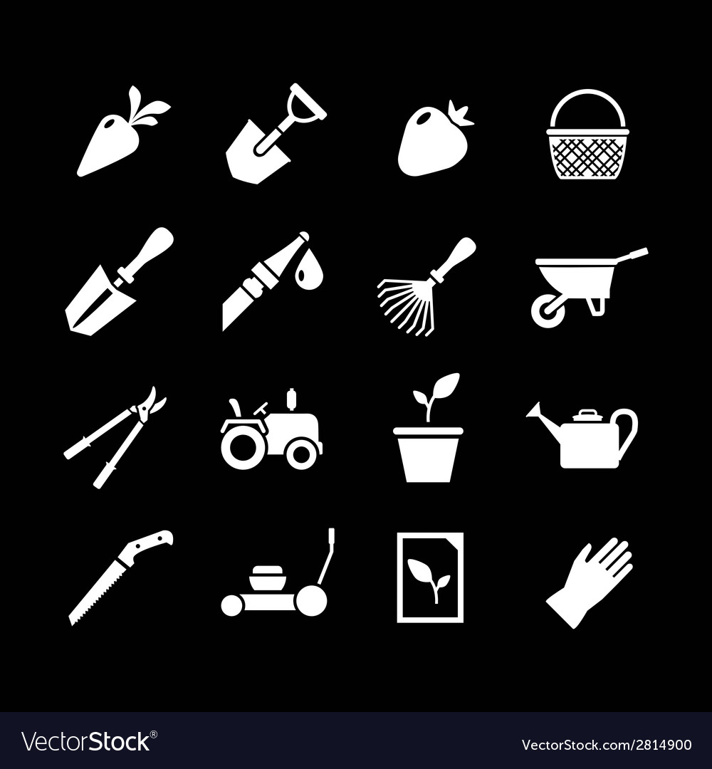 Set icons of garden vector | Price: 1 Credit (USD $1)