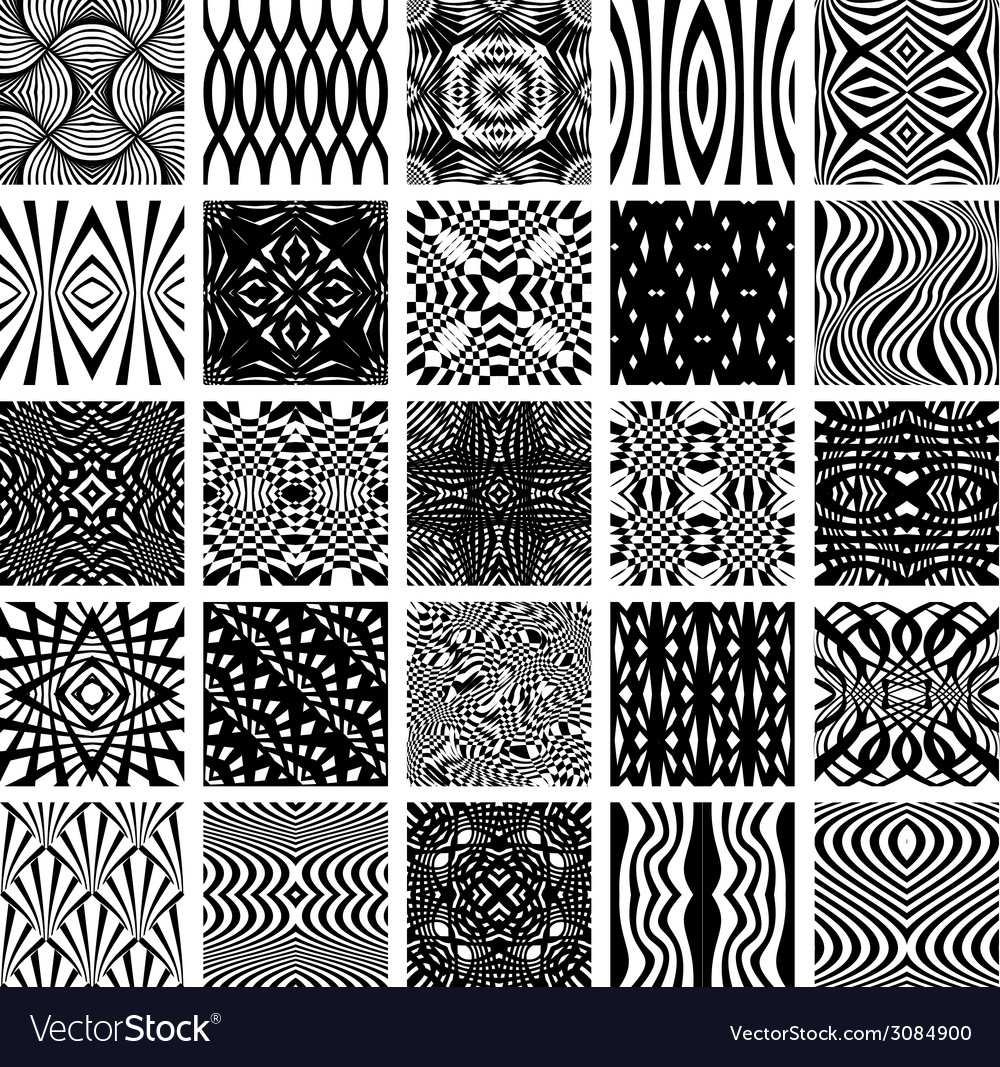 Set of 25 black and white geometric seamless vector   Price: 1 Credit (USD $1)