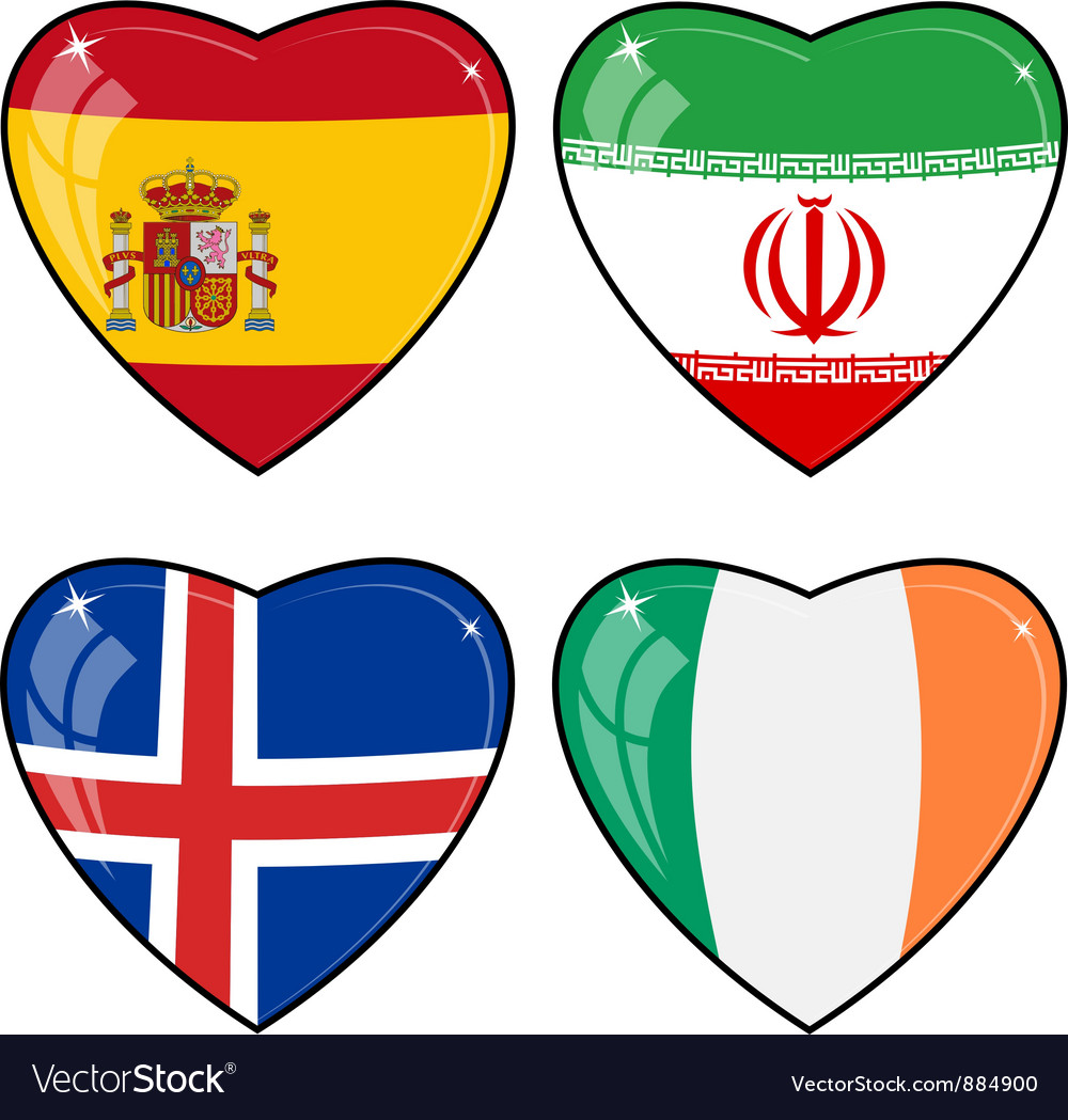 Set of images of hearts with the flags of iran vector | Price: 1 Credit (USD $1)