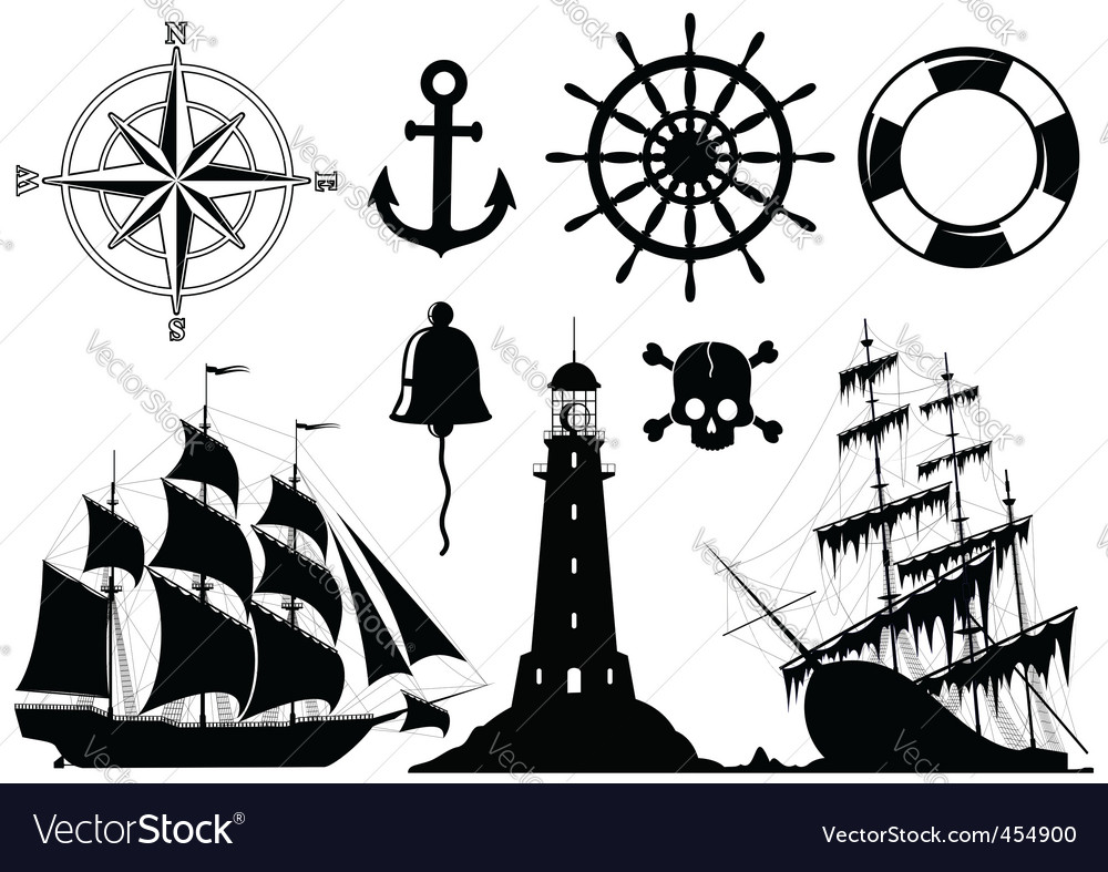 Set of nautical icons vector
