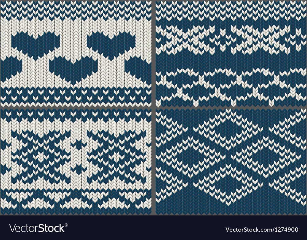 Set of yarn swatches with ornament vector | Price: 1 Credit (USD $1)