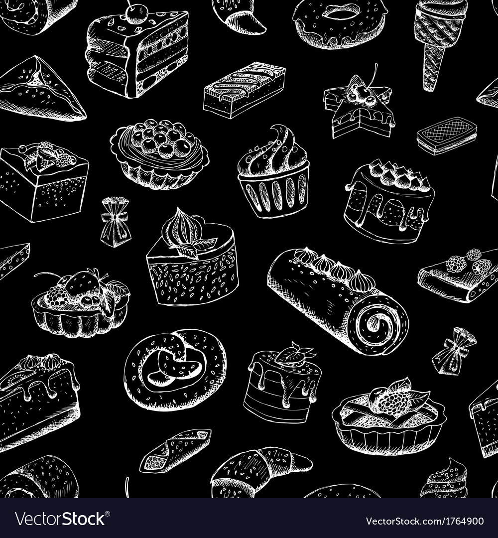 Sweet pastries on chalkboard vector | Price: 1 Credit (USD $1)