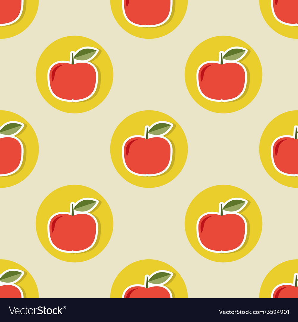 Apple pattern seamless texture with ripe red vector   Price: 1 Credit (USD $1)