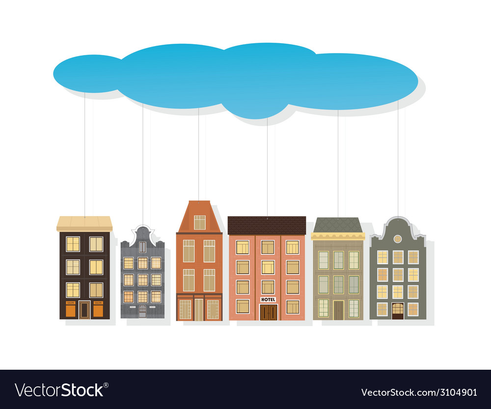 Colourful paper houses hang on a thread vector   Price: 1 Credit (USD $1)