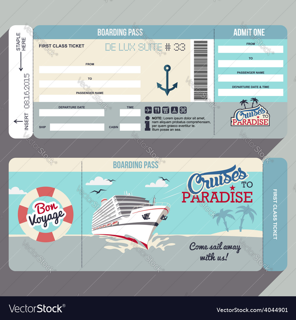 Cruises to paradise boarding pass design vector | Price: 3 Credit (USD $3)