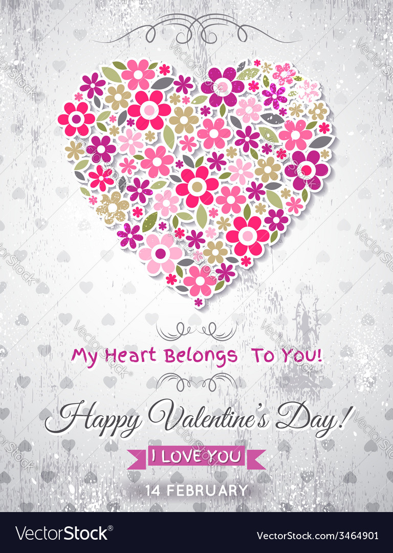 Grey background with valentine heart of spring flo vector | Price: 1 Credit (USD $1)