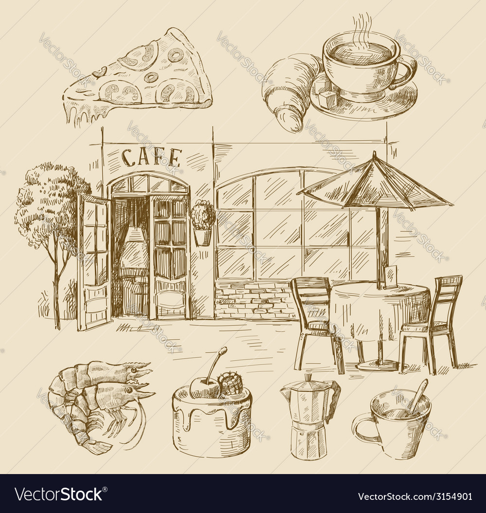 Hand drawn cafe vector | Price: 1 Credit (USD $1)