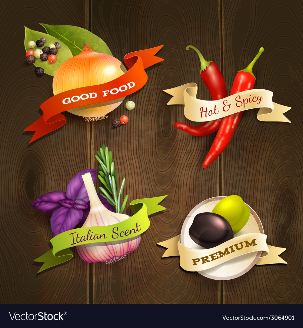 Herbs and spices badges set vector | Price: 1 Credit (USD $1)
