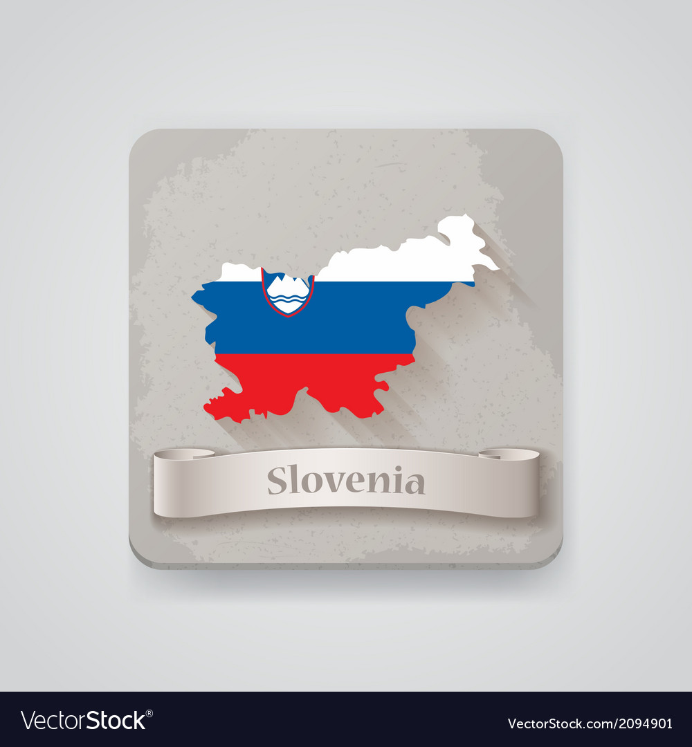 Icon of slovenia map with flag vector | Price: 1 Credit (USD $1)