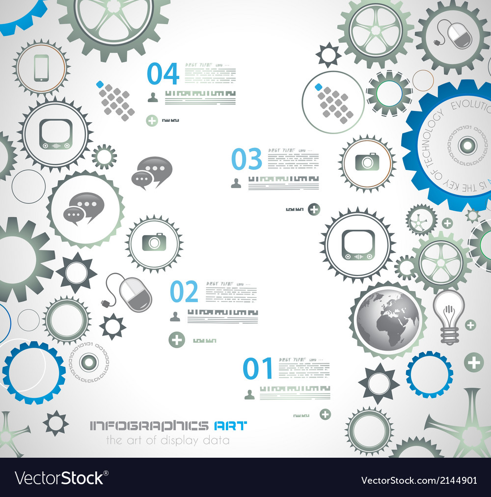 Infographic design template with gear chain vector | Price: 1 Credit (USD $1)