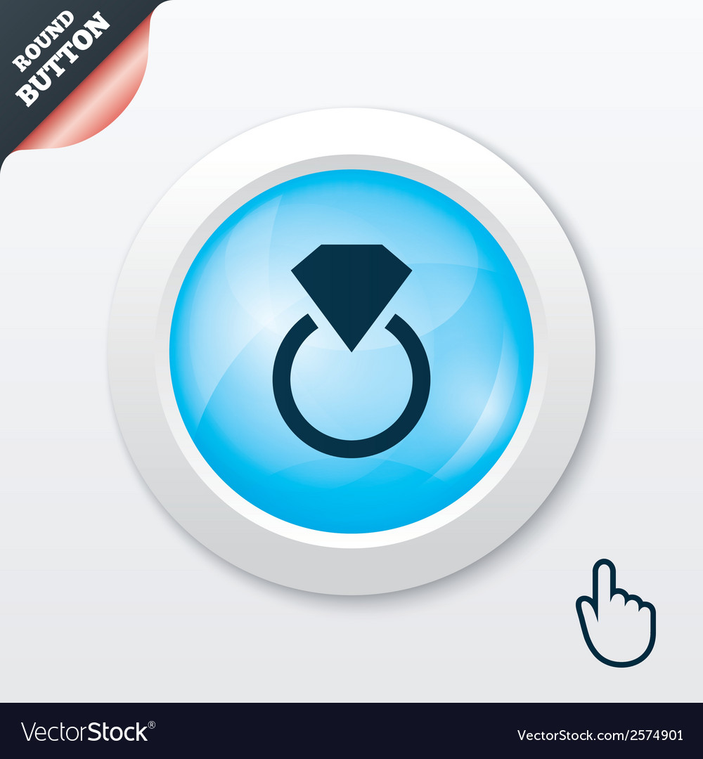 Jewelry sign icon ring with diamond symbol vector   Price: 1 Credit (USD $1)