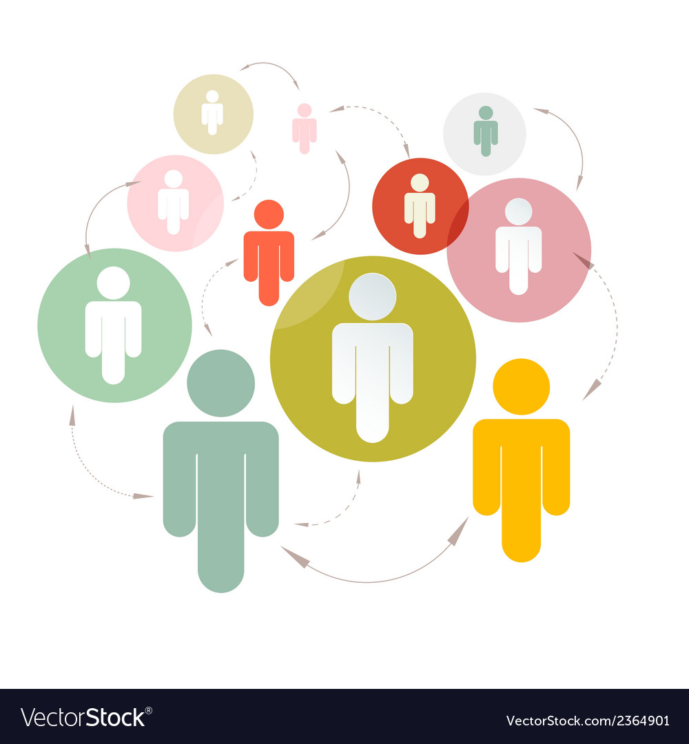 Paper people in circles - social media connection vector | Price: 1 Credit (USD $1)