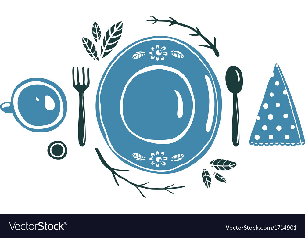 Place setting design with plate spoon fork and cup vector | Price: 1 Credit (USD $1)