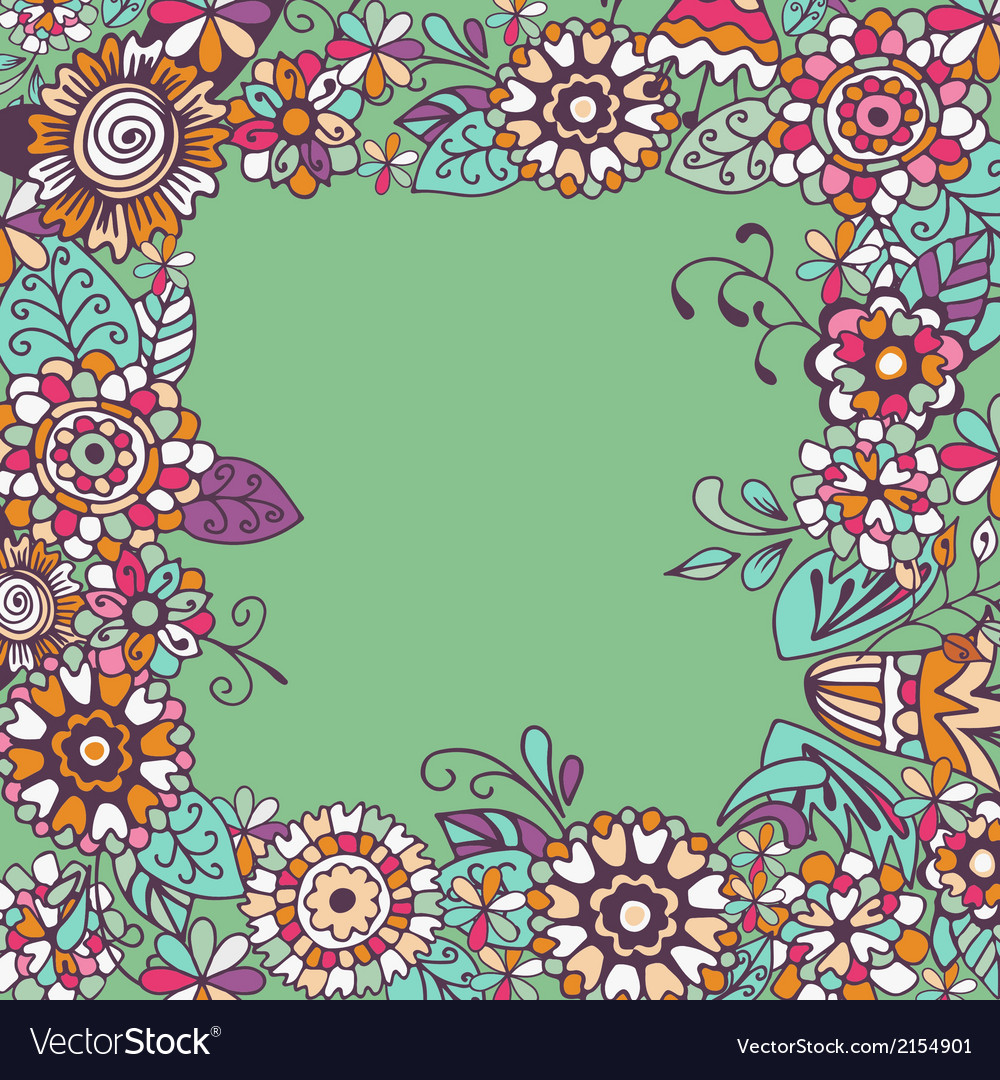 Seamless floral frame on green background vector | Price: 1 Credit (USD $1)