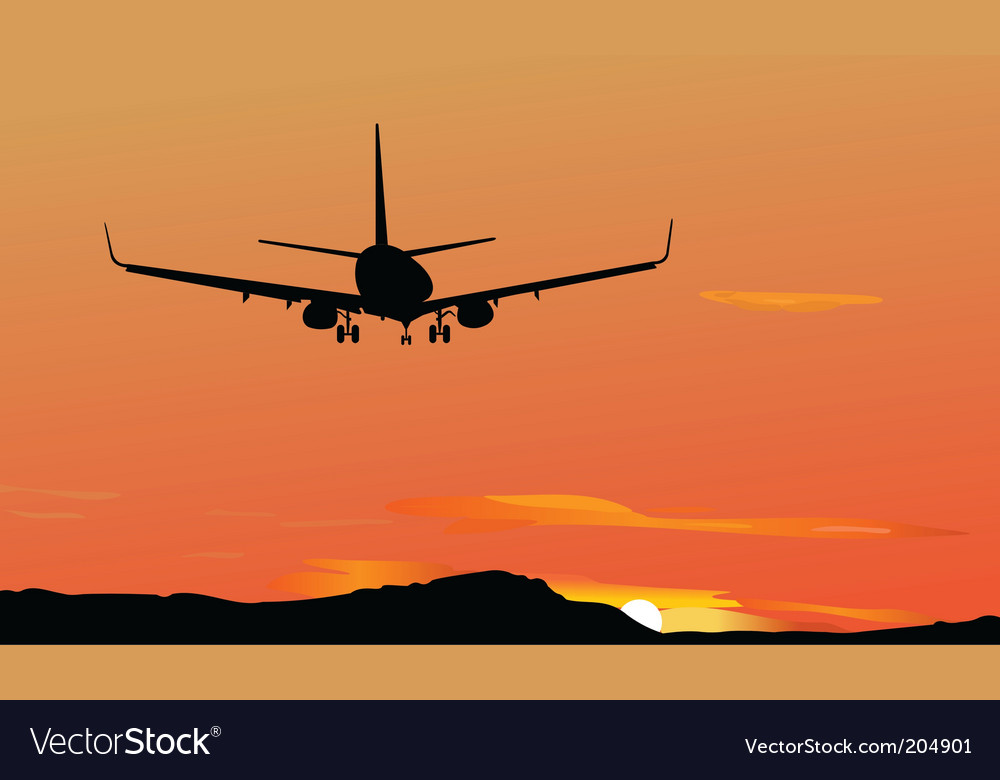 Silhouetted plane vector | Price: 1 Credit (USD $1)