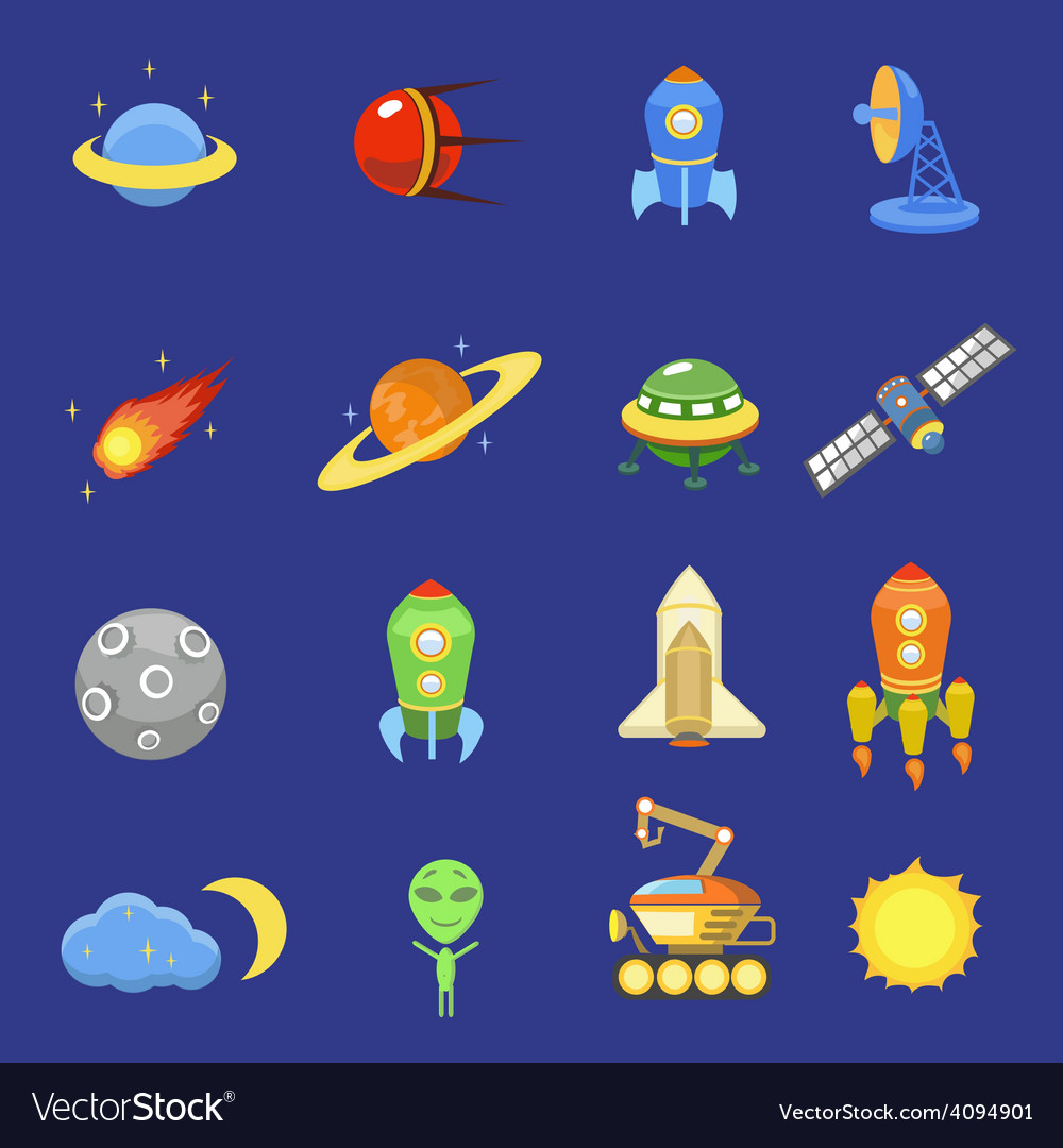 Space icons set of rocket galaxy planet ufo sun vector | Price: 1 Credit (USD $1)