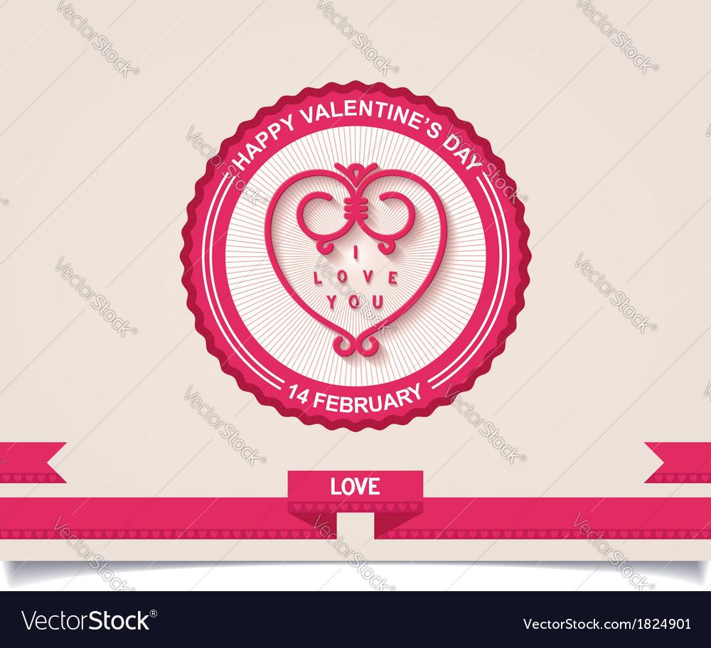 Vintage valentines day labels design element vector | Price: 1 Credit (USD $1)