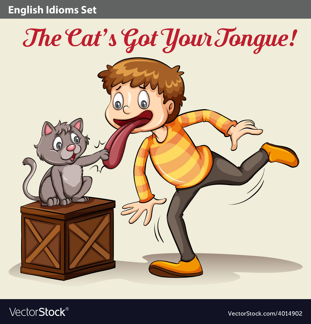 A cat touching a boys tongue vector | Price: 3 Credit (USD $3)