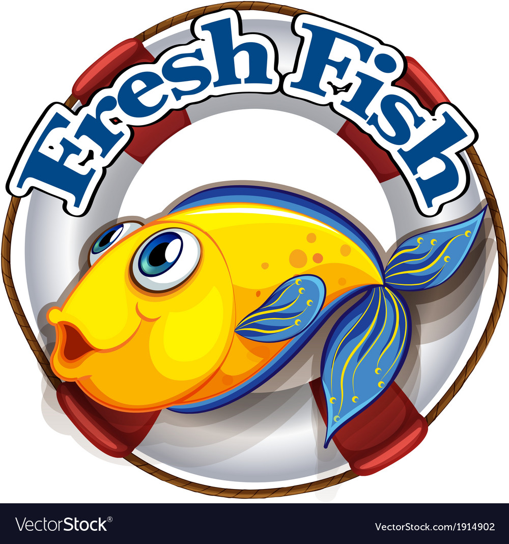A fresh fish label with an image of a fish vector | Price: 3 Credit (USD $3)